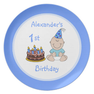 Baby Boy's First Birthday Cake Plate