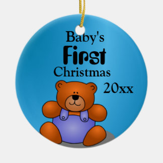 Baby Boy's First Christmas Round Ceramic Ornament