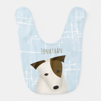 baby boy's name blue w white squares cartoon dog bib