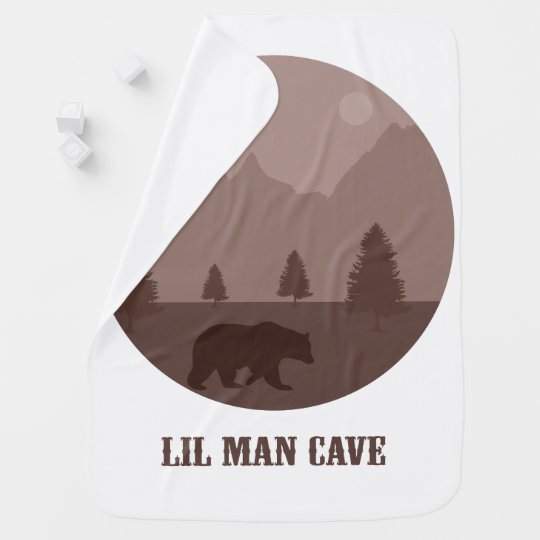 "Baby Boys Room Blanket Decor ""Lil Man Cave"" Bear Baby Blanket"