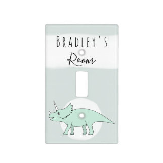 Baby Boy's Triceratops Dinosaur Doodle Nursery Light Switch Cover