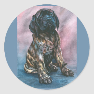 Baby Brindle Mastiff Classic Round Sticker