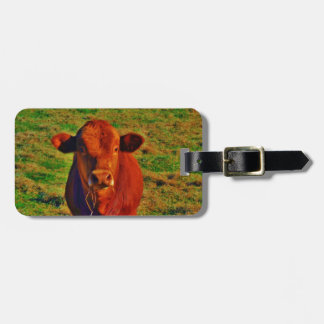 BABY BROWN COW EATING TRAVEL BAG TAGS