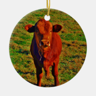 BABY BROWN COW EATING Double-Sided CERAMIC ROUND CHRISTMAS ORNAMENT