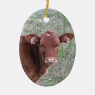 Baby Brown Cow face Double-Sided Oval Ceramic Christmas Ornament