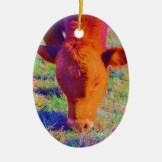 Baby Brown Cow face. RAINBOW GRASS Ceramic Ornament