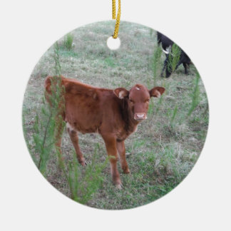 Baby Brown Cow . Double-Sided Ceramic Round Christmas Ornament