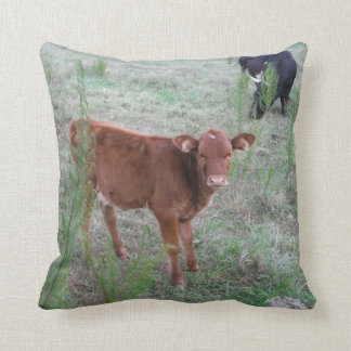 Baby Brown Cow. Throw Pillow
