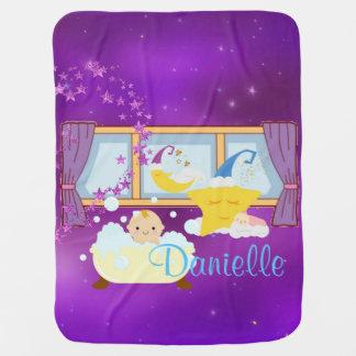 Baby Bubble Bath Purple Moon & Stars Baby Blanket