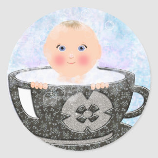 Baby bubble bath tea cup classic round sticker