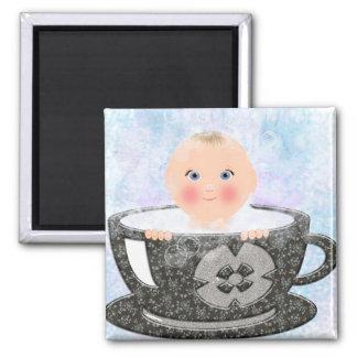 Baby bubble bath tea cup square magnet