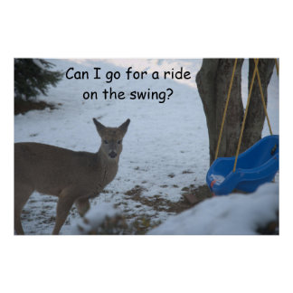 Baby Buck Snow Blue Baby Swing Poster