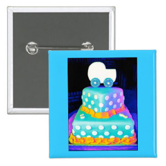 Baby Buggy Cake - Boy 2 Inch Square Button