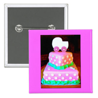 Baby Buggy Cake - Girl 2 Inch Square Button