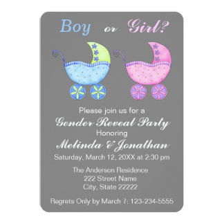 Baby Buggy Carriage Gender Reveal Party Invitation
