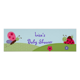 Baby Bugs Ladybug Butterfly Birthday Banner Sign