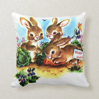 Baby Bunnies in the Garden Vintage Storybook Art Throw Pillow