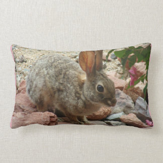 Baby Bunny In Sedona Rock Accent Throw Pillow