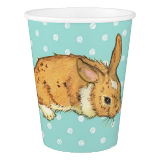 baby bunny on teal polka dot background paper cup