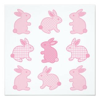 Baby Bunny Rabbits, Polka Dots, Check, Pastel Pink Card