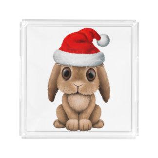 Baby Bunny Wearing a Santa Hat Acrylic Tray
