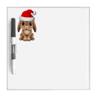 Baby Bunny Wearing a Santa Hat Dry Erase Board
