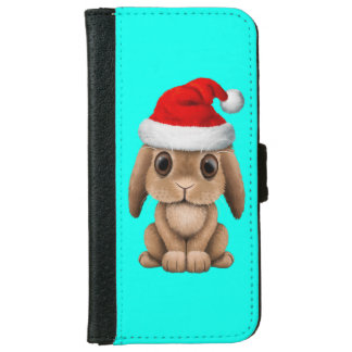 Baby Bunny Wearing a Santa Hat iPhone 6 Wallet Case