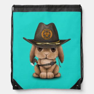Baby Bunny Zombie Hunter Drawstring Bag