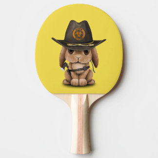 Baby Bunny Zombie Hunter Ping Pong Paddle
