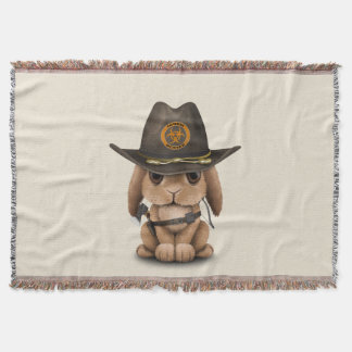 Baby Bunny Zombie Hunter Throw Blanket