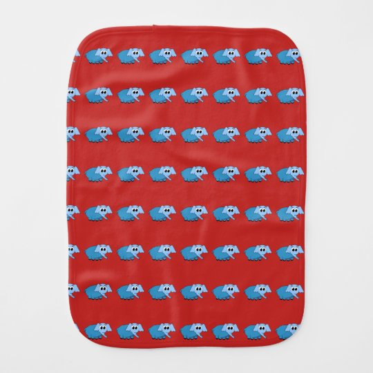 Baby burp cloth with elephant design.