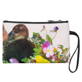 Baby Call Duckling Duck Bird Flowers Animal Bag Wristlet Clutches