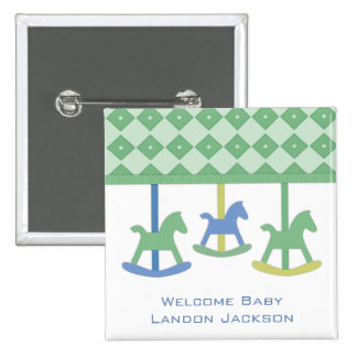Baby Carousel Collection 2 Inch Square Button