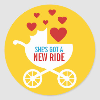Baby Carriage New Ride Shower Gift Classic Round Sticker