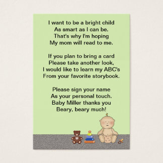 Baby Carriage Tot Book Poem Business Card