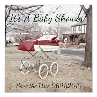 Baby Carriage, Vintage Buggy Picture Outside Pram Card