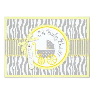 "Baby Carriage, Zebra Print & Yellow Baby Shower 5"" X 7"" Invitation Card"