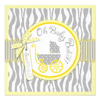Baby Carriage, Zebra Print & Yellow Baby Shower Personalized Invites