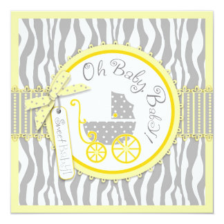 "Baby Carriage, Zebra Print & Yellow Baby Shower 5.25"" Square Invitation Card"