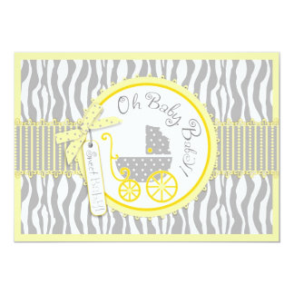 Baby Carriage, Zebra Print & Yellow Baby Shower Invitations