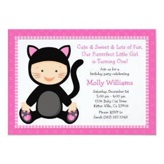 Baby Cat Birthday Party Invitation