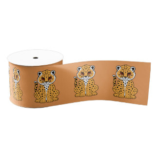"Baby Cheetah Cub 3"" Grosgrain Ribbon"
