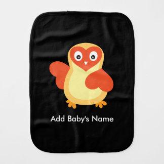 Baby Chicken - Cute Cartoon with Custom Text Baby Burp Cloths