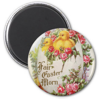 Baby Chicks and Roses Vintage Easter Magnet