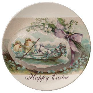 Baby Chicks Rowing Porcelain Plate