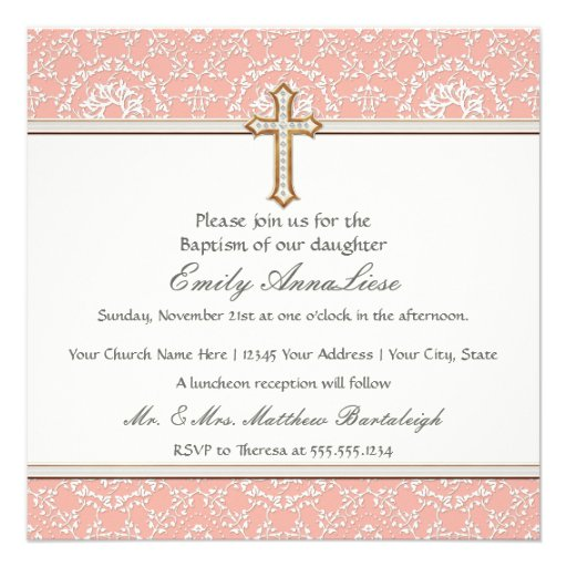 Baby Child Infant Baptism Gold Golden Cross Lace Personalized Invite