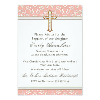 Baby Child Infant Baptism Gold Golden Cross Lace 5x7 Paper Invitation Card