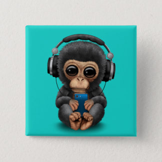 Baby Chimp with Headphones and Cell Phone 2 Inch Square Button
