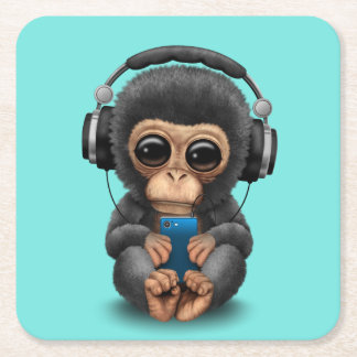 Baby Chimp with Headphones and Cell Phone Square Paper Coaster