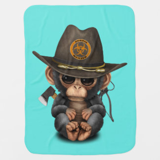 Baby Chimp Zombie Hunter Baby Blanket